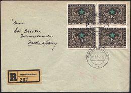 """ÖSTERREICH 1954 (5.6.) 1 S. """"50 Jahre Austro-Esperanto"""", Reine MeF: 4er-Block + RZ: Warth/Vorarlberg, Inl.-R-FDC + R-Ein - Esperanto"""