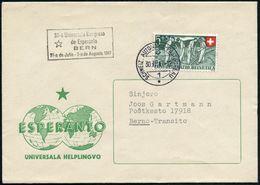 SCHWEIZ 1947 (30.7.) Amtl. HdN; 32-a Universala Kongreso/de Esperanto/BERN.. (Stern) + 1K: SCHWEIZ. AUTOMOBIL-POSTBUREAU - Esperanto