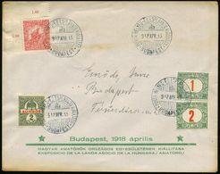 UNGARN 1918 (15.4.) Seltener, Früher SSt.: BUDAPEST/POSTA BELYEG-ESPERANTO KALLITAS = Esperanto-Ausstellung , 4 X Klar A - Esperanto