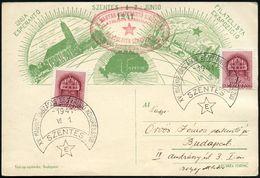 UNGARN 1941 (1.6.) SSt.: SZENTES/XV. MAGYAR ORSZAGOS ESPERANTO KONGRESSZUS (Stern) 2x Roter Esperanto-Oval-HdN, Vs. + Rs - Esperanto