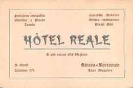 """08705 """"(VCO) STRESA-BORROMEO - LAGO MAGGIORE - HOTEL REALE""""  CARTONCINO PUBBL. ORIGINALE - Pubblicitari"""