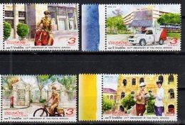 THAILAND , 2018, MNH, 135th ANNIVERSARY OF THAI POSTAL SERVICES, BICYCLES, MOTORBIKES,  VANS, VEHICLES, POSTMEN, 4v - Posta