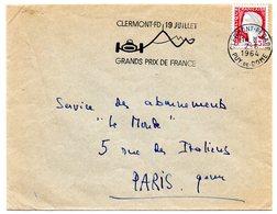 COURSE AUTOMOBILE = 63 CLERMONT-FERRAND GARE 1964 = FLAMME SECAP Illustrée ' GRANDS PRIX De FRANCE' - Postmark Collection (Covers)