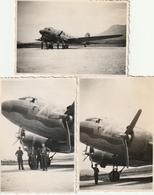Lot De 3 Photos 85 Mm X 57 Mm - 1945 - Avion Dakota DC-3 - Aviation Militaire - Le Bourget Savoie - Scan R/V - Aviation