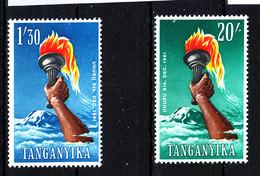 Tanganika  - 1961. Kilimangiaro E Torcia In Mano Alto Valore De Set. Kilimanjaro And Torch In Hand High Values Of Set - Geografia