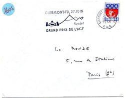 COURSE AUTOMOBILE = 63 CLERMONT-FERRAND GARE 1965 = FLAMME Sur Enveloppe Ent = SECAP Illustrée 'GRANDS PRIX De FRANCE' - Postmark Collection (Covers)