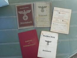 MILITARIA WW2 ALLEMAGNE, LOT DE PAPIERS ET LIVRETS, TRAVAIL, CIRCULATION, IDENTITES - Vieux Papiers