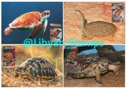 LIBYA - 1996 Reptiles Reptilia Reptilien Turtles (4 Maximum-cards) - Tortues