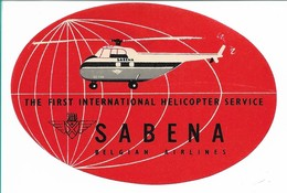 SABENA - Bagage Etiket: The First International Helicopter Service (rood) - Baggage Etiketten