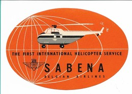 SABENA - Bagage Etiket: The First International Helicopter Service (oranje) - Étiquettes à Bagages