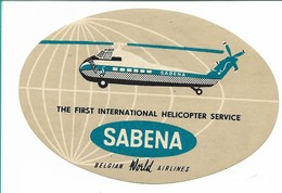 SABENA - Bagage Etiket: The First International Helicopter Service (grijs) - Baggage Etiketten