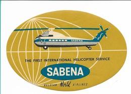 SABENA - Bagage Etiket: The First International Helicopter Service (oker) - Baggage Etiketten