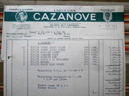 33 BORDEAUX  Liqueurs CAZANOVE, Facture + Traite - Factures
