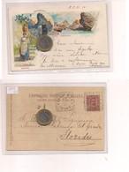 2683) Campania CAPRI NAPOLI Gruss LITHO 1899 Viaggiata VALVERDE TONDORIQUADRATO - Saluti Da.../ Gruss Aus...