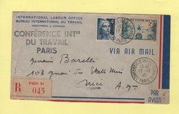 Conference Internationale Du Travail - Paris - 17-10-1945 - Recommande - Postmark Collection (Covers)