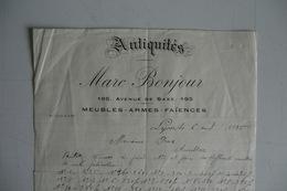 (006) FACTURES DOCUMENTS COMMERCIAUX. 69 RHONE LYON. Marc BONJOUR, ANTIQUITES, Armes, Faiences, Meubles. 1925. - Old Professions