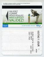 Ticket De Tramway Illustré - Tarif VisiTAG 1 Jour - 2018 - TAG Grenoble, Isère, France - Tramways
