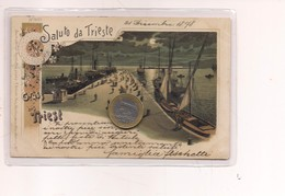 2702) Friuli Venezia Giulia TRIESTE Gruss LITHO 1898 Viaggiata Francobollo Asportato - Saluti Da.../ Gruss Aus...