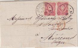 """FRANCE : ALSACE LORRAINE . OBL FER A CHEVAL . DE """" DIEUZE """" . TB . 1876 . - Marcophilie (Lettres)"""