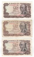 1970 Tres Billetes 100 Pesetas Distintas Calidades SC - EBC - Usado - [ 4] 1975-… : Juan Carlos I
