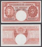 Jamaica 5 Shillings 1960 (VF++) Condition Banknote P-45 KGVI - Jamaique