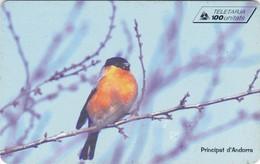 Andorra, AD-STA-0102, Bullfinch, Bird., Only 20.000 Issued, 2 Scans. - Andorra