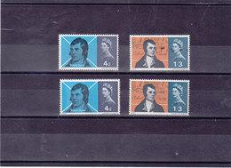 GB 1966 ROBERT BURNS Yvert 421-422 + 421A-422A NEUF** MNH - 1952-.... (Elizabeth II)