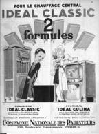 """PUB CHAUFFAGE CENTRAL  """" IDEAL-CLASSIC """" Par RENE VINCENT   1930 (2 ) - Advertising"""