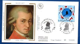 Enveloppe Premier Jour / Mozart / Paris / 9-04-91 / Tirage Numéroté - FDC
