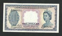 MALAYA AND BRITISH BORNEO $1 DOLLAR 1953 P-1a CHOICE UNC - Malaysie