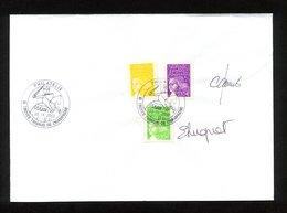 """SUR FRAGMENT 3 TIMBRES """" MARIANNE DE LUQUET """" CACHET PHILATELIE TROYES-THIBAUD DE CHAMPAGNE- DU 26/09/2002- 2 SIGNATURES - France"""