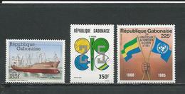 GABON  Scott 588, 593, C270 Yvert 590, 593, PA267 ** (2) Cote 8,6  $ 1985 - Gabon (1960-...)
