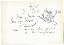 """DUNOYER DE SEGONZAC   Portrait De La """" Belle Zélie """" - """" L'Ecureuil """" ( Feuille Env.  18,5 X 26 Cm ) - Autographes"""