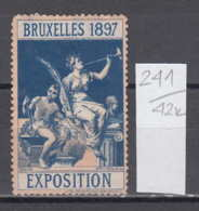 42K241 / 1897 - Brussels International Exposition , Blacksmith , CINDERELLA LABEL VIGNETTE , Belgium - Weltausstellung
