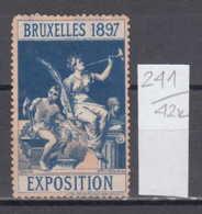 42K241 / 1897 - Brussels International Exposition , Blacksmith , CINDERELLA LABEL VIGNETTE , Belgium - Expositions Universelles