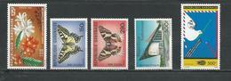 GABON  Scott 598, 605-606, 607, C282 Yvert 601, 608-609, 611, PA283 ** (5) Cote 19,50  $ 1986 - Gabon (1960-...)