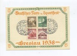 1938 3.Reich Mehrfarbiges Gedenkblatt Dt. Turn- Und Sportfest Breslau Satzfrankatur Mi 665-668 - Deutschland