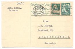 Ganzsache Aus Luzern 1924 - Nach Braunschweig Mit Zusatzfrankatur - Ganzsachen