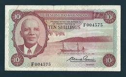MALAWI 10 SHILLNGS 1964 LOW # 004575 P#2 VF BANKNOTE - Malawi