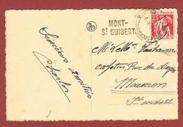 Mont St Guibert Langstempel Griffe Op Kaart - Poststempel
