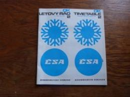 Timetable CSA Airlines 1972 Czechoslovak Airlines - Aviation Commerciale