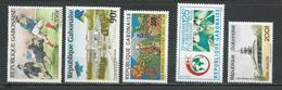GABON  Scott 642, 643, 646, 647, 653 Yvert 644, 645, 648, 649, 655 ** (5) Cote 12,75 $ 1988 - Gabon (1960-...)