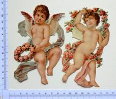 2 CHROMOS .DECOUPIS... ANGES.. H  13 Cm  COURONNE DE FLEURS - Angeles