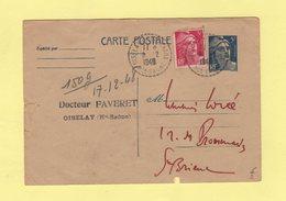Oiselay - Haute Saone - 9-12-1948 - Marianne De Gandon - Marcophilie (Lettres)