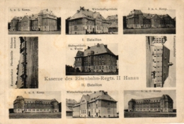 Hanau, Kaserne Des Eisenbahn-Regiments II, Mehrbild-AK, Feldpost 1915 - Hanau