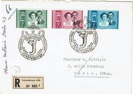 CTN54A- LUXEMBOURG SERIE MARIAGE 9/4/1953 SUR LETTRE RECOMMANDEE - Brieven En Documenten