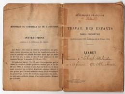 Livret Travail Des Enfants Dans L'industrie Courbevoie 1911 Cachet Mairie Marck Lacarrière Cordier - Cachets Généralité