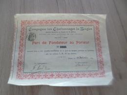 Part De Fondateur Au Porteur Compagnie Des Charbonnages De Singles 1899 - Mines