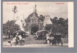 BURMA/ MYANMAR Main Entrance Grand Pagoda Rangoon Ca 1910 OLD POSTCARD 2 Scans - Myanmar (Burma)