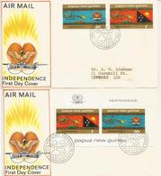 PAPOUASIE.  Independance 1975.  Série + Bloc-feuillet. Deux FDC's - Papouasie-Nouvelle-Guinée
